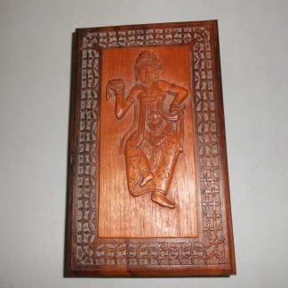 Vintage Wood Stash Box Indian woman dancing